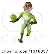 Clipart Of A 3d Young Black Male Super Hero In A Green Suit Sprinting And Holding A Green Bell Pepper Royalty Free Illustration