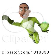 Clipart Of A 3d Young Black Male Super Hero In A Green Suit Flying And Holding A Green Bell Pepper 2 Royalty Free Illustration