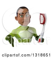 Clipart Of A 3d Young Black Male Super Hero In A Green Suit Giving A Thumb Down And Holding A Giant Toothbrush Over A Sign Royalty Free Illustration