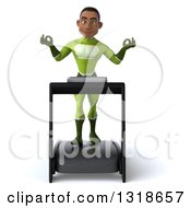 Clipart Of A 3d Young Black Male Super Hero In A Green Suit Meditating And Walking On A Treadmill Royalty Free Illustration
