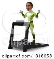 Clipart Of A 3d Young Black Male Super Hero In A Green Suit Facing Slightly Left Meditating And Walking On A Treadmill Royalty Free Illustration