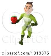 Clipart Of A 3d Young White Male Super Hero In A Green Suit Sprinting And Holding A Strawberry Royalty Free Illustration