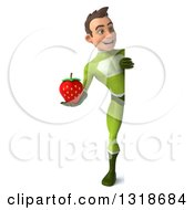 Clipart Of A 3d Full Length Young White Male Super Hero In A Green Suit Holding A Strawberry And Looking Around A Sign Royalty Free Illustration