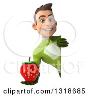 Clipart Of A 3d Young White Male Super Hero In A Green Suit Holding A Strawberry Around A Sign Royalty Free Illustration