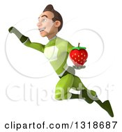 Clipart Of A 3d Young White Male Super Hero In A Green Suit Flying And Holding A Strawberry Royalty Free Illustration