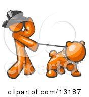 Orange Man Walking A Tough Bulldog On A Leash Clipart Illustration