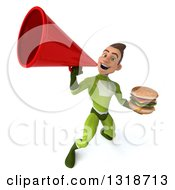 Clipart Of A 3d Young White Male Super Hero In A Green Suit Holding A Double Cheeseburger And Announcing Upwards With A Megaphone Royalty Free Illustration