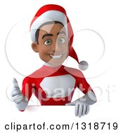 Clipart Of A 3d Young Black Male Christmas Super Hero Santa Giving A Thumb Up Over A Sign Royalty Free Illustration by Julos