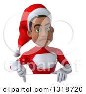 Clipart Of A 3d Young Black Male Christmas Super Hero Santa Giving A Thumb Down Over A Sign Royalty Free Illustration by Julos