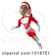 Clipart Of A 3d Young Black Male Christmas Super Hero Santa Flying And Presenting Royalty Free Illustration by Julos