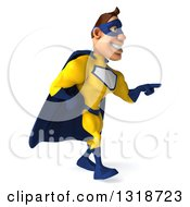 Clipart Of A 3d Muscular White Male Super Hero In A Yellow And Blue Suit Walking And Pointing To The Right Royalty Free Illustration