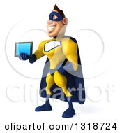 Clipart Of A 3d Muscular White Male Super Hero In A Yellow And Blue Suit Facing Left And Holding Out A Tablet Computer Royalty Free Illustration