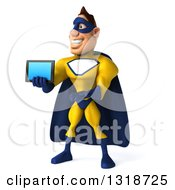 Clipart Of A 3d Muscular White Male Super Hero In A Yellow And Blue Suit Facing Left Presenting And Holding Out A Tablet Computer Royalty Free Illustration