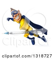 Clipart Of A 3d Muscular White Male Super Hero In A Yellow And Blue Suit Smiling Flying To The Left And Holding A Giant Vaccine Syringe Royalty Free Illustration