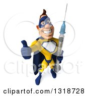 Clipart Of A 3d Muscular White Male Super Hero In A Yellow And Blue Suit Holding Up A Thumb And A Giant Vaccine Syringe Royalty Free Illustration