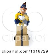 Clipart Of A 3d Muscular White Male Super Hero In A Yellow And Blue Suit Looking Up And Moving Boxes On A Dolly Royalty Free Illustration