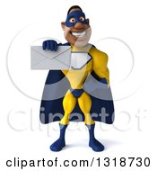 Clipart Of A 3d Muscular Black Male Super Hero In A Yellow And Blue Suit Holding Out An Envelope Royalty Free Illustration