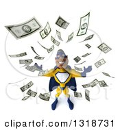 Clipart Of A 3d Muscular Black Male Super Hero In A Yellow And Blue Suit Looking Up Making It Rain Money Royalty Free Illustration