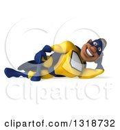Clipart Of A 3d Muscular Black Male Super Hero In A Yellow And Blue Suit Resting On His Side Royalty Free Illustration