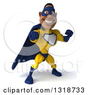 Clipart Of A 3d Muscular Black Male Super Hero In A Yellow And Blue Suit Punching Royalty Free Illustration