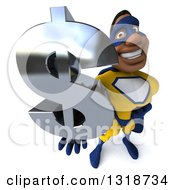 Clipart Of A 3d Muscular Black Male Super Hero In A Yellow And Blue Suit Facing Right Holding Up A Dollar Symbol Royalty Free Illustration