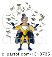 Clipart Of A 3d Muscular Black Male Super Hero In A Yellow And Blue Suit Making It Rain Money Royalty Free Illustration