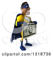 Clipart Of A 3d Muscular Black Male Super Hero In A Yellow And Blue Suit Facing Right Holding A Giant Dollar Bill Royalty Free Illustration by Julos