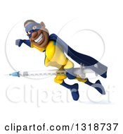 Clipart Of A 3d Muscular Black Male Super Hero In A Yellow And Blue Suit Flying To The Left Smiling And Holding A Giant Vaccine Syringe Royalty Free Illustration