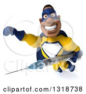 Clipart Of A 3d Muscular Black Male Super Hero In A Yellow And Blue Suit Flying With A Giant Vaccine Syringe Royalty Free Illustration