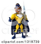 Clipart Of A 3d Muscular Black Male Super Hero In A Yellow And Blue Suit Giving A Thumb Up And Holding A Giant Vaccine Syringe Royalty Free Illustration