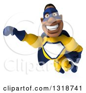 Clipart Of A 3d Muscular Black Male Super Hero In A Yellow And Blue Suit Flying Royalty Free Illustration by Julos