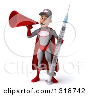 Clipart Of A 3d Young White Male Super Hero Mechanic In Gray And Red Holding A Giant Vaccine Syringe And Announcing With A Megaphone Royalty Free Illustration