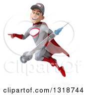 Clipart Of A 3d Young White Male Super Hero Mechanic In Gray And Red Flying Pointing And Holding A Giant Vaccine Syringe Royalty Free Illustration