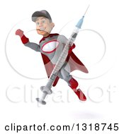Clipart Of A 3d Young White Male Super Hero Mechanic In Gray And Red Flying And Holding A Giant Vaccine Syringe 2 Royalty Free Illustration