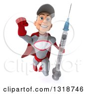 Clipart Of A 3d Young White Male Super Hero Mechanic In Gray And Red Flying And Holding A Giant Vaccine Syringe Royalty Free Illustration