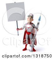 Clipart Of A 3d Young White Male Super Hero Mechanic In Gray And Red Holding A Blank Sign And A Giant Vaccine Syringe Royalty Free Illustration