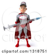Clipart Of A 3d Young White Male Super Hero Mechanic In Gray And Red Holding A Giant Vaccine Syringe Royalty Free Illustration