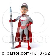 Clipart Of A 3d Young White Male Super Hero Mechanic In Gray And Red Standing With A Giant Vaccine Syringe Royalty Free Illustration