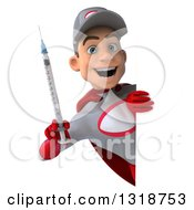 Clipart Of A 3d Young White Male Super Hero Mechanic In Gray And Red Holding A Giant Vaccine Syringe Around A Sign Royalty Free Illustration