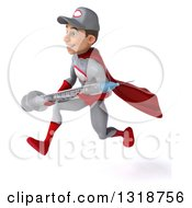 Clipart Of A 3d Young White Male Super Hero Mechanic In Gray And Red Sprinting To The Left And Holding A Giant Vaccine Syringe Royalty Free Illustration