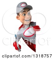 Clipart Of A 3d Young White Male Super Hero Mechanic In Gray And Red Holding A Giant Vaccine Syringe And Looking Around A Sign Royalty Free Illustration