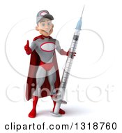 Clipart Of A 3d Young White Male Super Hero Mechanic In Gray And Red Giving A Thumb Up And Holding A Giant Vaccine Syringe Royalty Free Illustration