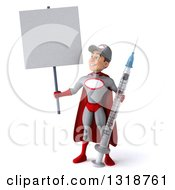 Clipart Of A 3d Young White Male Super Hero Mechanic In Gray And Red Holding A Giant Vaccine Syringe And Blank Sign Royalty Free Illustration
