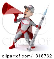 Clipart Of A 3d Young White Male Super Hero Mechanic In Gray And Red Holding A Giant Vaccine Syringe And Announcing To The Left With A Megaphone Royalty Free Illustration