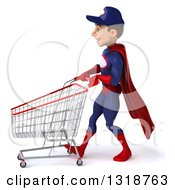 Clipart Of A 3d Young White Male Super Hero Mechanic In Red And Dark Blue Walking To The Left And Pushing A Shopping Cart Royalty Free Illustration
