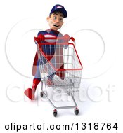 Clipart Of A 3d Young White Male Super Hero Mechanic In Red And Dark Blue Speed Walking And Pushing A Shopping Cart Royalty Free Illustration