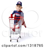 Clipart Of A 3d Young White Male Super Hero Mechanic In Red And Dark Blue Sprinting With A Shopping Cart Royalty Free Illustration