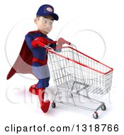 Clipart Of A 3d Young White Male Super Hero Mechanic In Red And Dark Blue Struggling With A Shopping Cart Royalty Free Illustration