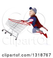 Clipart Of A 3d Young White Male Super Hero Mechanic In Red And Dark Blue Flying With A Shopping Cart Royalty Free Illustration