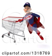 Clipart Of A 3d Young White Male Super Hero Mechanic In Red And Dark Blue Flying With A Shopping Cart 3 Royalty Free Illustration